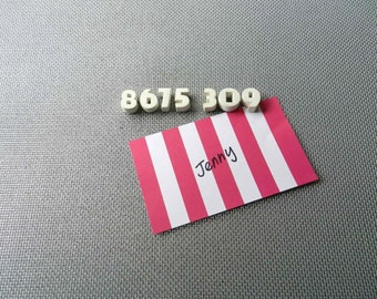8675309 Jenny Vintage Bisque Ceramic Pushpin Letters Love Wedding Christmas Everyday Fun Tommy Tutone