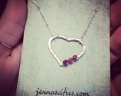 Silver Heart with Real Rubies Necklace