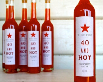 "Gift Bottle ""40 and hot "" Chilli Infused - Australian Extra Virgin, Cold Pressed Bottled Olive Oil"