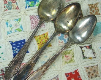 Vintage SILVERPLATE SERVING SPOONS Set/3 Wm Rogers & Son Debutante Circa 1925