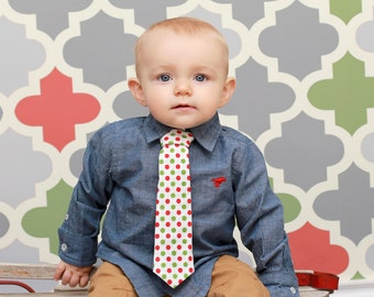 Baby Boy Tie Photo Prop Birthday Cake Smash Neck Tie First Birthday Sizes Newborn-2T Christmas Holiday Red Green Polka Dots on White