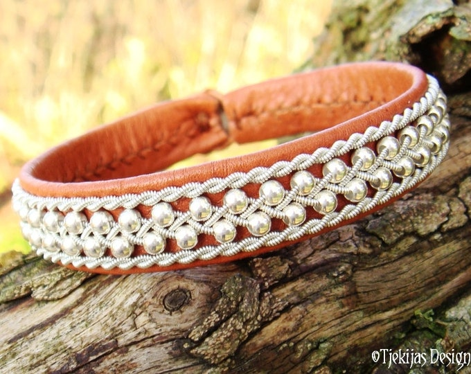 Swedish Viking Lapland Reindeer Leather Cuff ROSKVA Sami Bracelet in Cognac Bark Brown with Sterling Silver Beads in Spun Pewter Braids