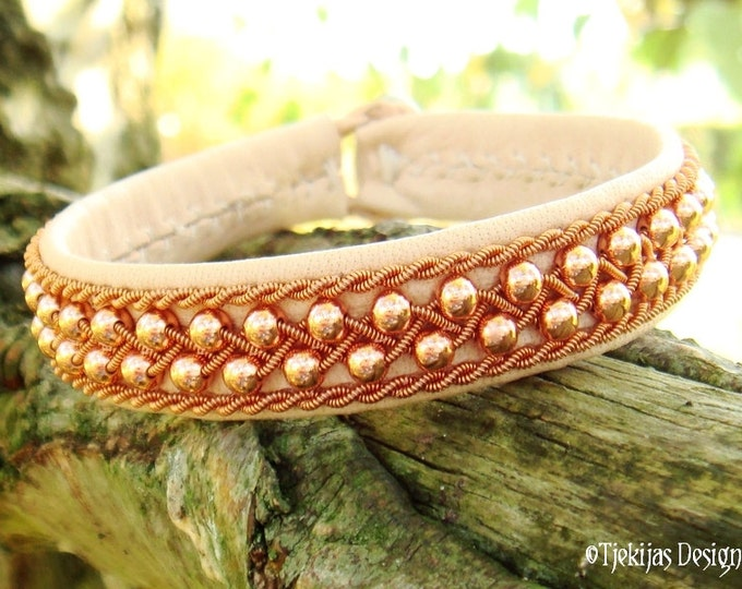 Nordic Spirit Viking Bracelet ROSKVA with Copper beads in Copper braid on silksoft Natural Reindeer Leather - Handcrafted Sami Jewelry