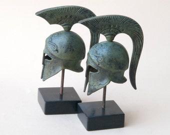Bronze Metal Helmet, Ancient Greek Spartan War Helmet, Metal Art Sculpture, Museum Replica, Greek Art Decor, Ancient Greece