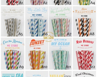 50 PAPER STRAWS, with free printable DIY Toppers, Paper Straw Drinking Straw