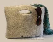 "Felted Wool Handbag Tote - Easy Crochet PATTERN 14"" x 11""/(36 x 28) cm - PDF 1915"