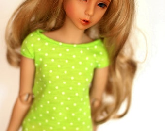 MNF Lime Green And White Polka Dot Top For Slim MSD BJD