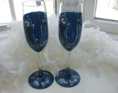 Diamonds and Denim hand painted champagne glasses