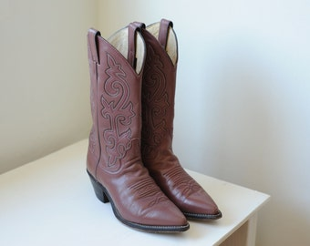 Vintage Justin Leather Western Cowboy Boots Womens 7