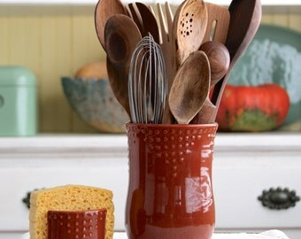 Kitchen Utensil Crock - Handmade Utensil Holder - Medium Size - 16 Color Choices -  Hand Thrown Vase - Modern Home Decor - MADE TO ORDER