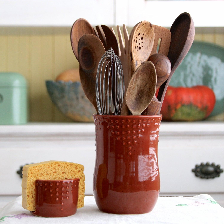 Kitchen Utensil Crock Handmade Utensil Holder Medium Size