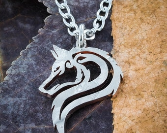Lone Wolf Necklace, Hand cut Jewelry, US Half Dollar