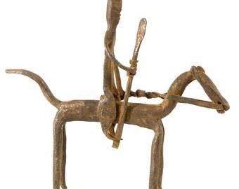 Bambara African Hand-Forged Iron Horseman Statue Figure, Mali