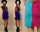 80s 90s Vtg COLORBLOCK Genuine LEATHER High Waisted Mini Skirt / Mondrian MOD Statement Piece / Xs - Sm