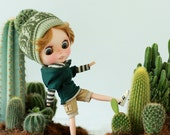 Miss yo Short-Sleeves Hoodie with Hat for Blythe doll - doll outfit - Green