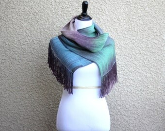 Woven scarf, pashmina scarf, gradient color green blue brown long women scarf with fringe