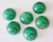 6 glass cabochons, Ø12mm, marbled green, round