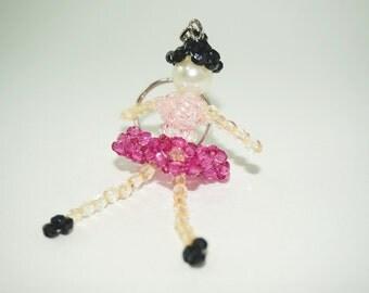 Ballerina Keychain, Ballet Dancer Keychain, Beaded Keychain, Girl Keychain, Pink Skirt Keychain, Little Girl Keychain, Beaded Ballet Dancer