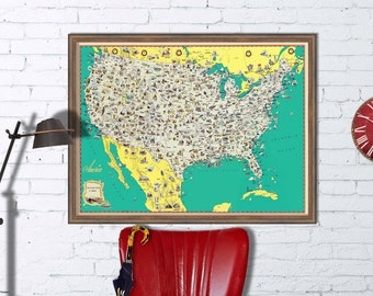 Large Us Map Etsy - Large us wall map