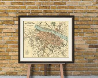 Zaragoza map -  Old city map print - Giclee print