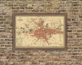 Old map Saint-Étienne - Fine archival print - Plan de la ville de St. Etienne