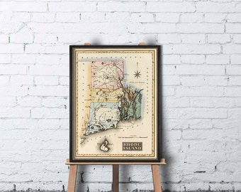 Rhode Island map  - Vintage  map of Rhode Island -   Historic map restored - Fine print