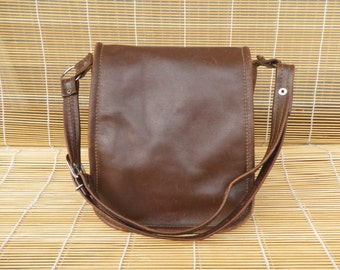 Vintage Lady's Brown Leather Small Size Hand Bag Purse