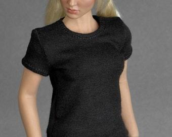 1/6th scale black T-shirt for female figures and dolls