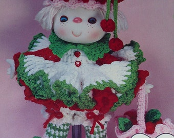 "Instant Download PDF Vintage Eighties 14"" Cherries Jubilee Crochet Doll Pattern"