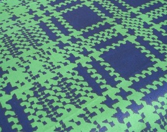 """Vintage Fabric - Plaid - Green & Navy Blue  - Cohama - By The Yard x 48""""W - 70's - Retro Sewing Material - Craft Supply - Yardage"""