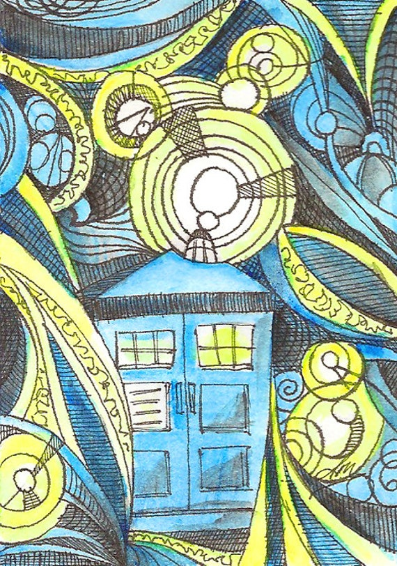 Timey Wimey, Abstract Dr Who Tardis Watercolor and India on Bristol Artist Trading Card