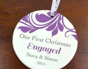 Our First Christmas Engaged Ornament - Engagement Ornament - Personalized Porcelain Newlywed Holiday Ceramic Ornament  - orn415 - Peachwik