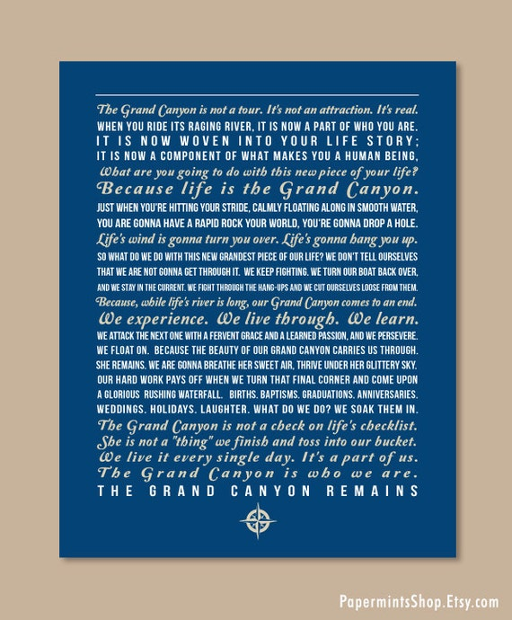 Grand Canyon Quotes: Custom Quote Poster Grand Canyon Print Poem Family Creed