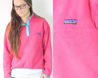 Vintage Retro Pink Patagonia Snap T Fleece Sweatshirt
