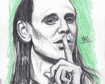 Loki / Tom Hiddleston - original pencil sketch - size A5