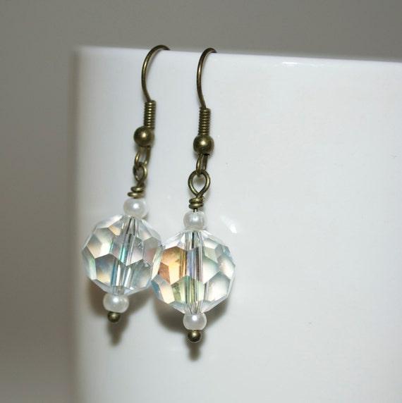 Wedding Jewelry, Drop Earrings, Crystal Bridesmaid Earrings, Bridal Jewelry, Crystal Pearl Dangle Earrings, Bridesmaid Gift, Beaded Jewelry