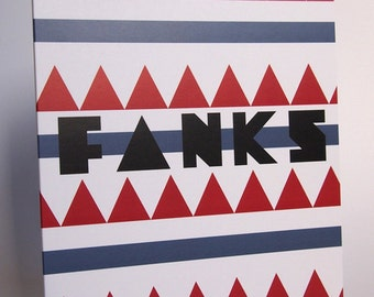 Fanks [Thank you] Typography Aztec Style Blank Greeting Card