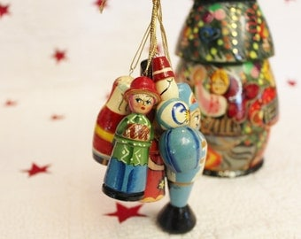 Hand painted Christmas Matryoshka Tree Filled with Ornaments