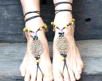 Barefoot Sandals - Gypsy Feet Beaded Jewelry - Hippie Sandals - Beaded Yoga Sandals- Hemp Sandals