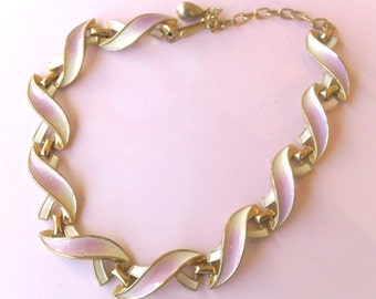 Breast Cancer Awareness Pink & White Link Choker Necklace Fashion Jewelry