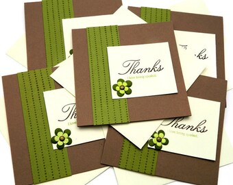 Thank You Cards - Wedding Thank You - Thank You Card Set - Brown Thank You Card - Rustic Greeting Cards - Thank You Note Cards - Floral Card