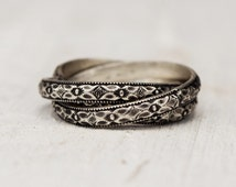 Trinity - Art Deco Diamond Pattern - Russian Wedding Ring - Sterling Silver - Linked Bands - Metalwork Jewelry - Boho -Unique