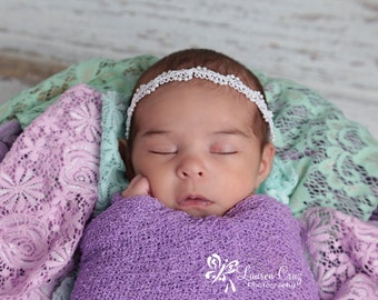 Iris / Lavender Swaddle Wrap AND/OR Headband with Pearl Beaded Headband, Newborn Photos, foto, bebe, photo prop by Lil Miss Sweet Pea