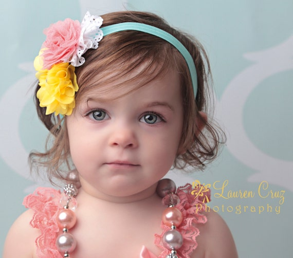 Colorful cluster, yellow, peach, white and aqua, perfect for photo shoots, toddler, newborn headband, photo prop, by Lil Miss Sweet Pea