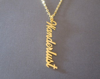 Personalized Gold Vertical Name Necklace