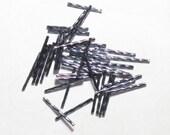 30mm Bugle Beads Metallic Hematite Gray Long Twisted Bugles 35 pcs Grey Twirl