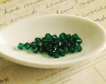 Emerald Green Crystal Bicones 4mm Swarovski Crystal Beads 48 pcs Dark Christmas Green Pine Holiday 5328