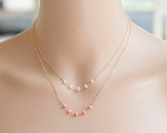 Dainty Pink Coral Necklace, Tiny Pink stone Gold Necklace, Bridal Gold Necklace, March Birthstone jewelry, Peach stone Romantic jewelry