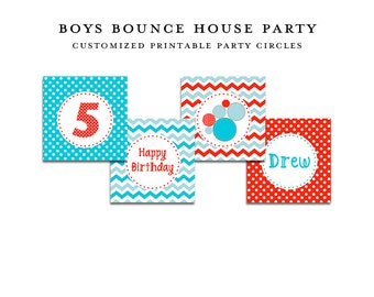 Red & Aqua BOUNCE HOUSE, Printable Party Circles