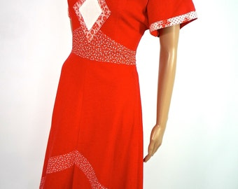 ON SALE 70s Red Wool Jersey Midi Dress With Diamond Aplique Detail